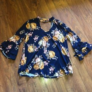 cut out neck line floral blouse